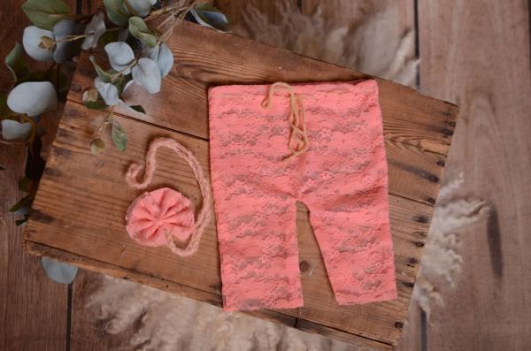 Dusty pink pants and headband lace set