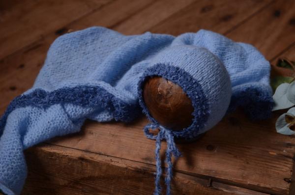 Set Wrap und Mütze aus Angora Fantasie in Dunkelblau