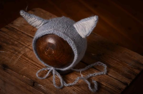 Mütze mit Katzeohren in Hellblau