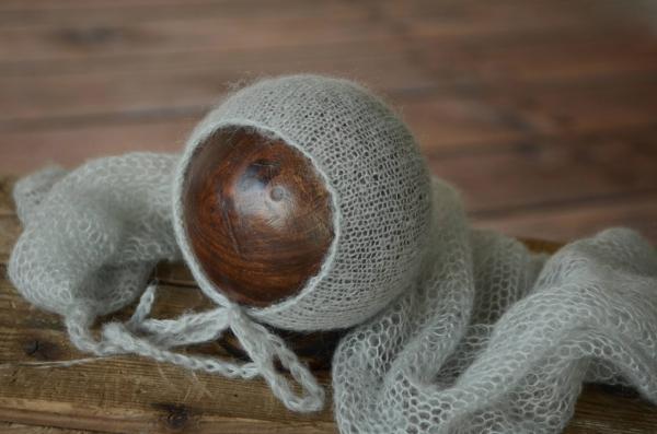 Set Wrap aus Angora mit Mütze in Perlgrau
