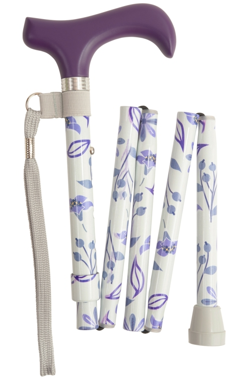 Folding Walking Stick - 5 Sections - Purple Floral