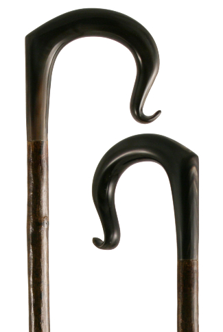 Hand Carved Buffalo Horn Shepherd's Crook with Curl